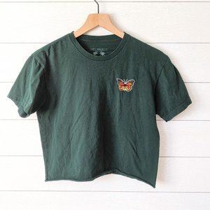 Riot Society Cropped Green Butterfly Tee S